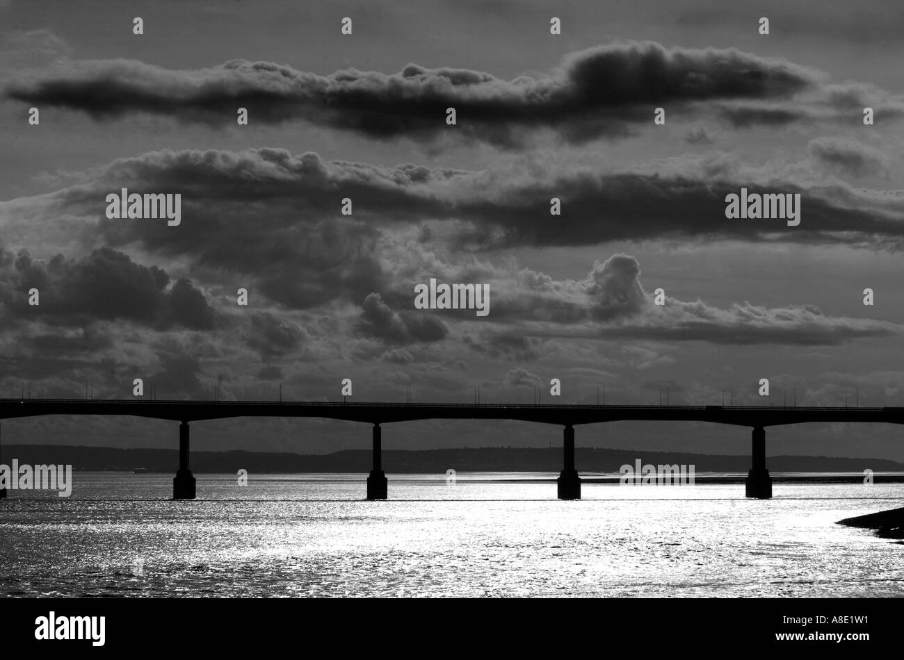 The second River Severn crossing near the Welsh side - Stock Image