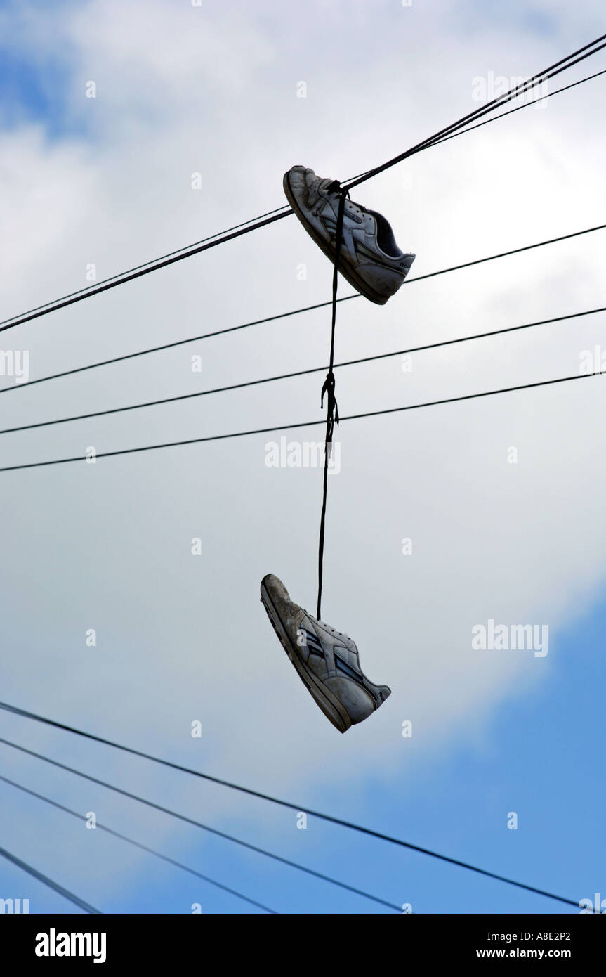 Shoes hanging from \