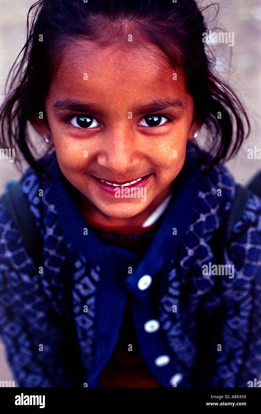 Young Indian Girl In Dark Blue Blouse
