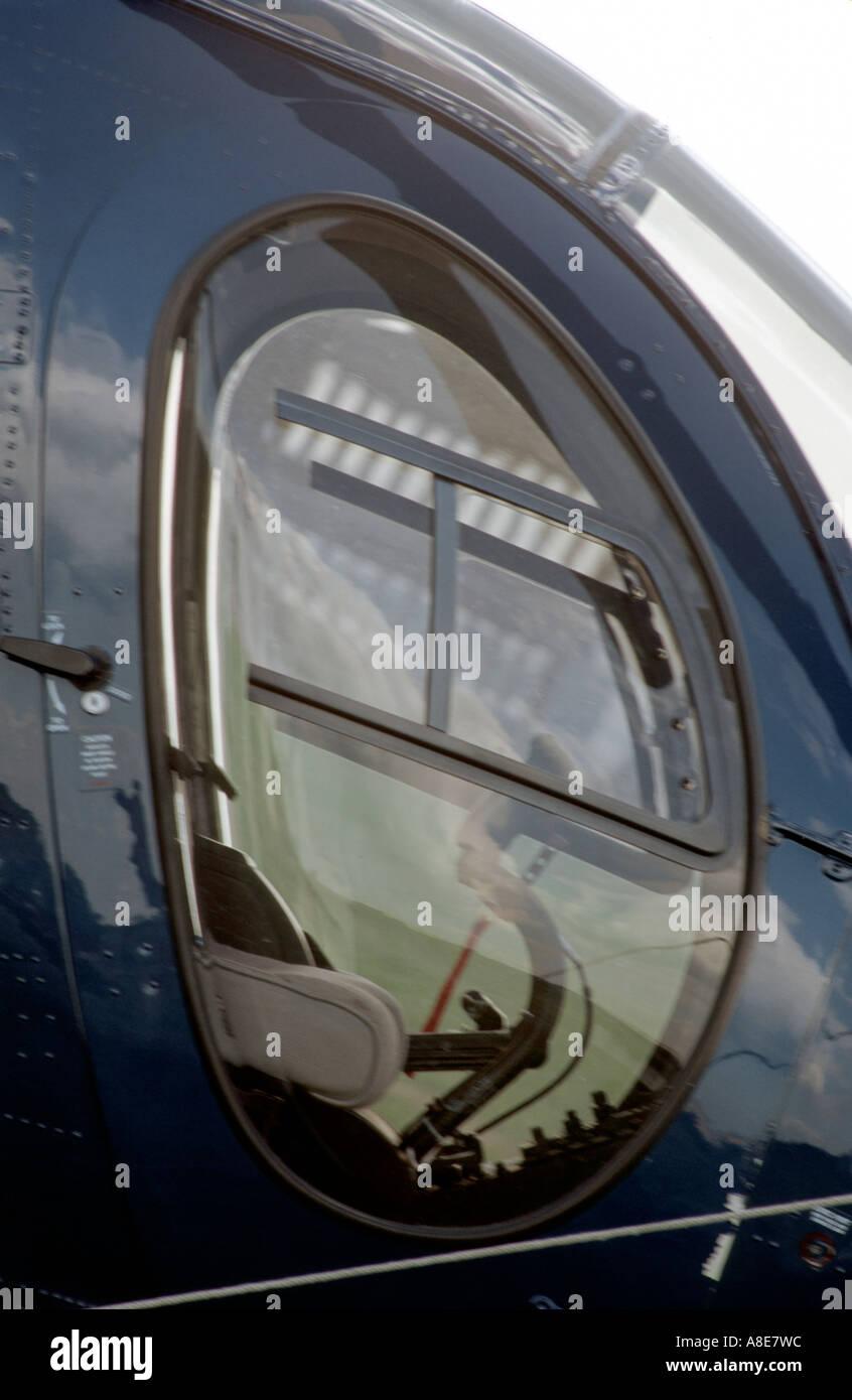HELICOPTER WINDOW  JOY STICK - Stock Image