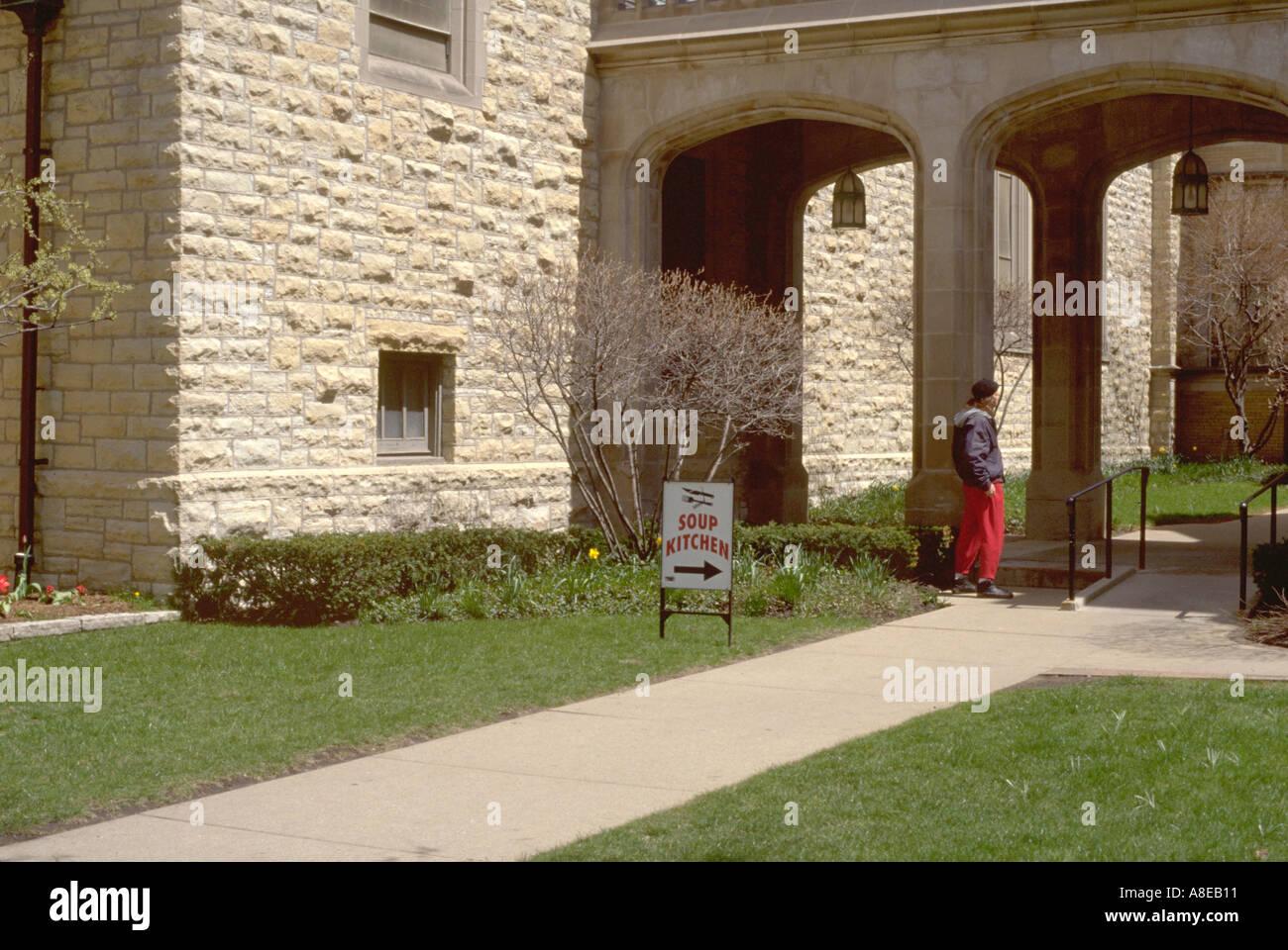 Homeless Man 36 Entering Church Soup Kitchen Evanston