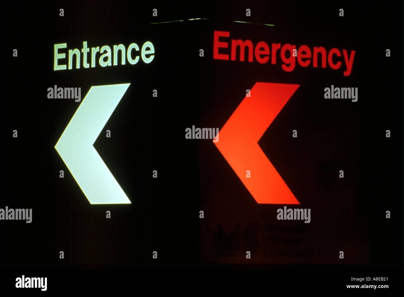 Emergency Room Sign At Abbott Northwestern Hospital Minneapolis Minnesota USA