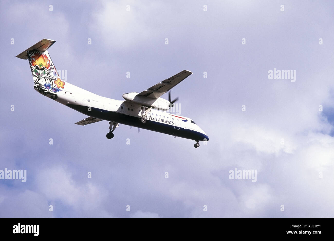 British Airways Dash 8 lands at Southampton Airport - Stock Image