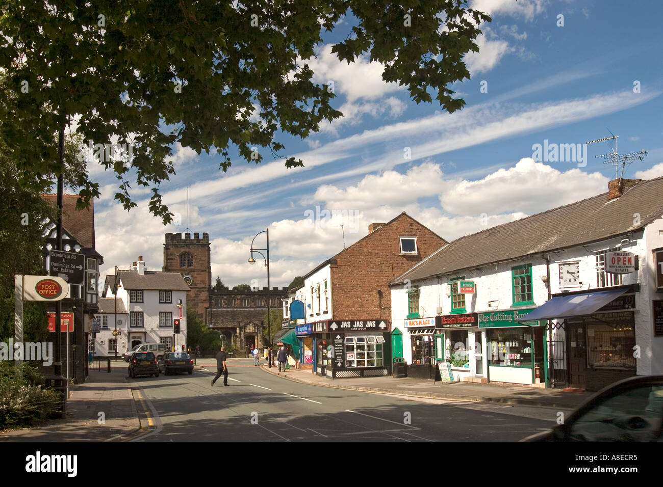 Cheshire Stockport Cheadle village centre Wilmslow Road and St Marys Church - Stock Image
