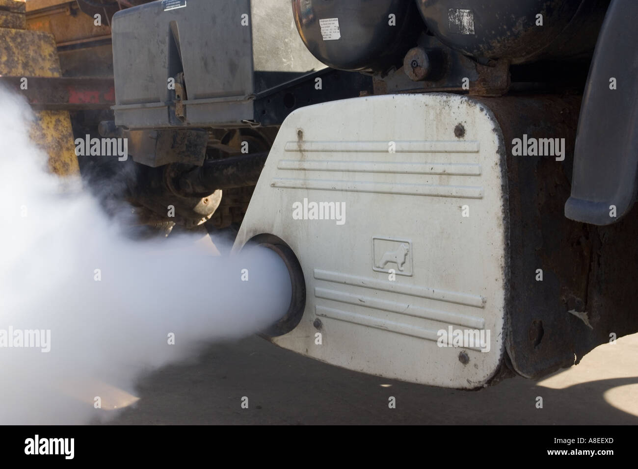 Exhaust gases emitted from silencer of large truck UK - Stock Image