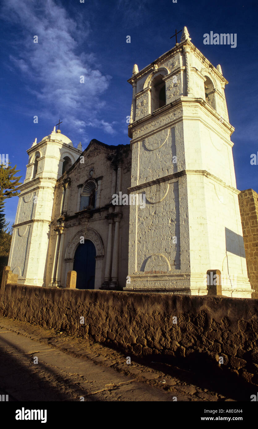 Catholic Church in Cabanaconde next to the Colca Canyon in Peru Stock Photo