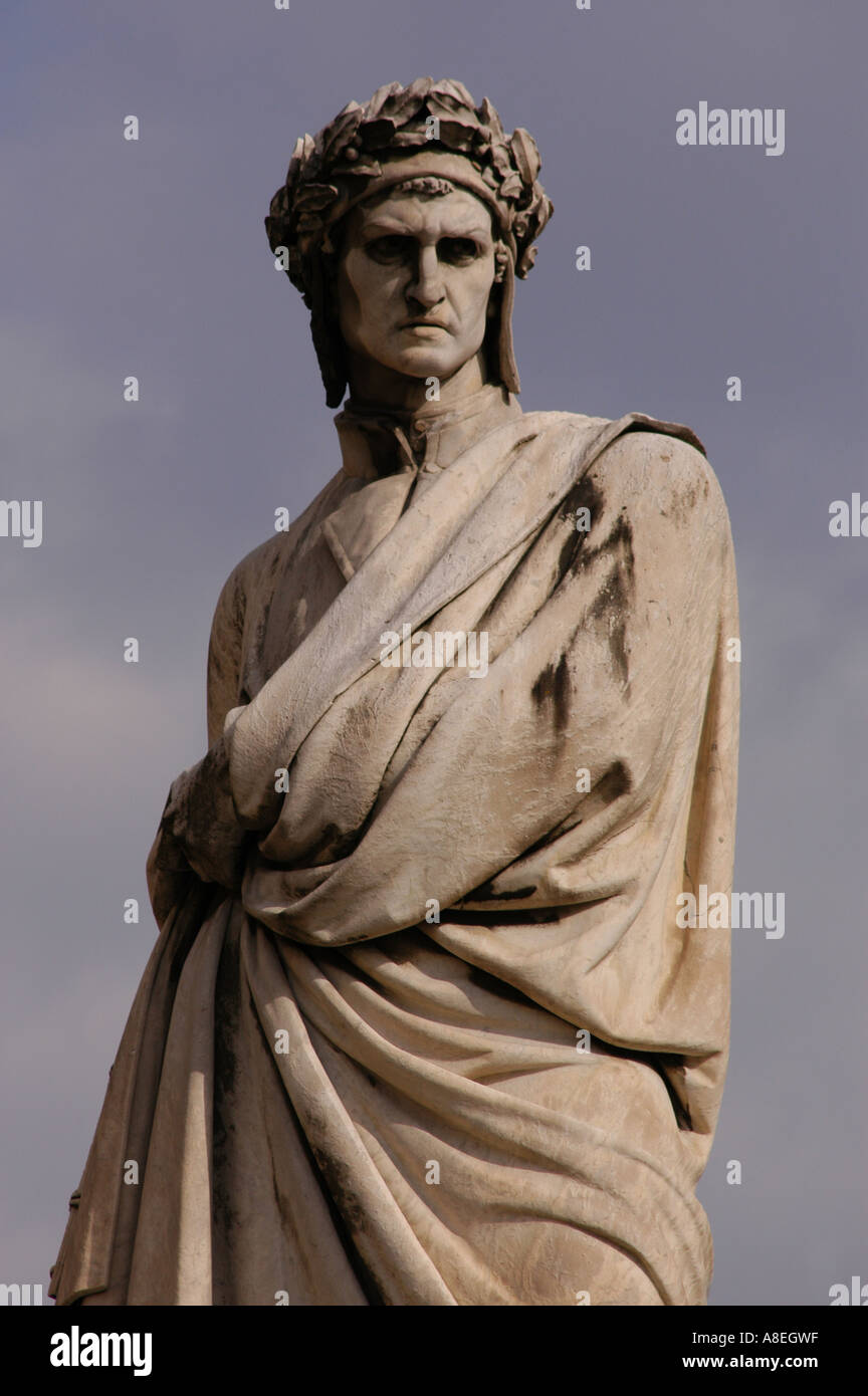 Statue of Dante Alighieri in Piazza Santa Croce Florence Toscana Italy - Stock Image
