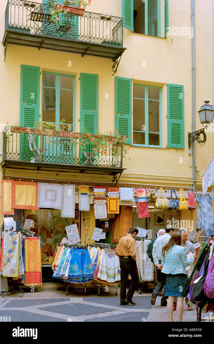 Nice Cote D Azur France Provencal Fabrics On Sale In A Shop With Stock Photo Alamy
