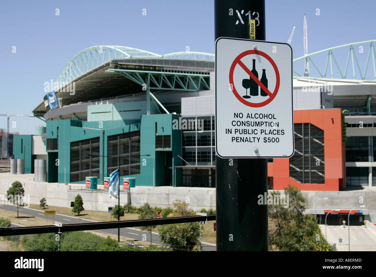 No Alcohol Consumption In Public Places sign near the Telstra Dome stadium in Melbourne,Australia. - Stock Image