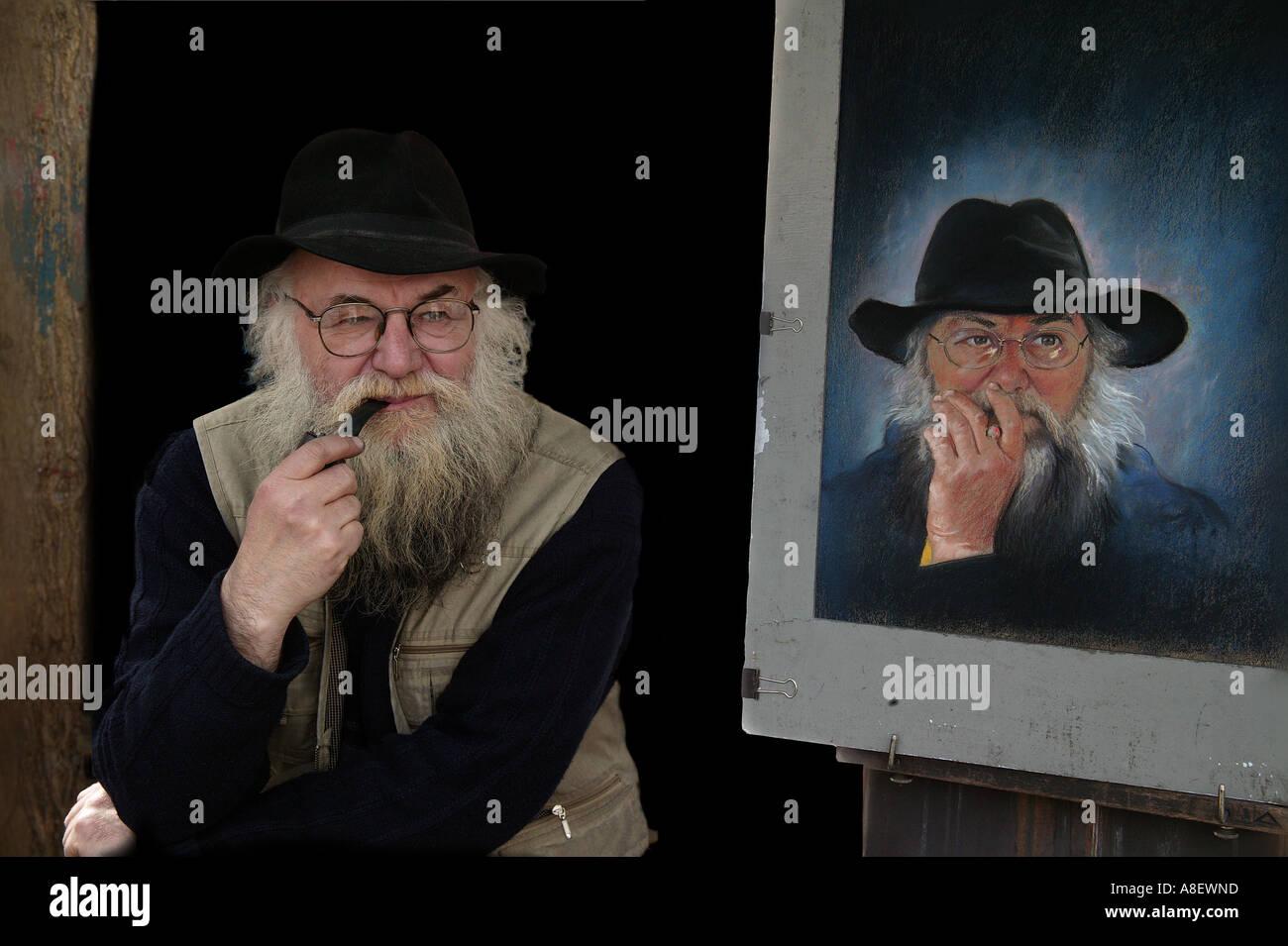 Paris Artist, Montmartre,  Self portrait. - Stock Image