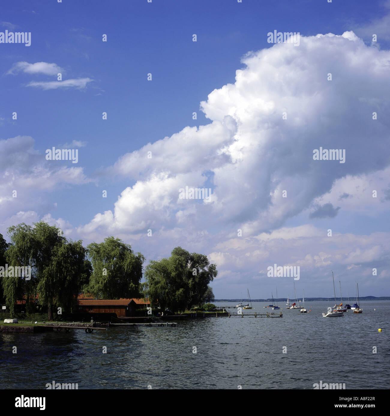 geography / travel, Germany, Bavaria, landscapes, Chiemsee, Frauenchiemsee, view towards lake, Europe, landscape, Stock Photo