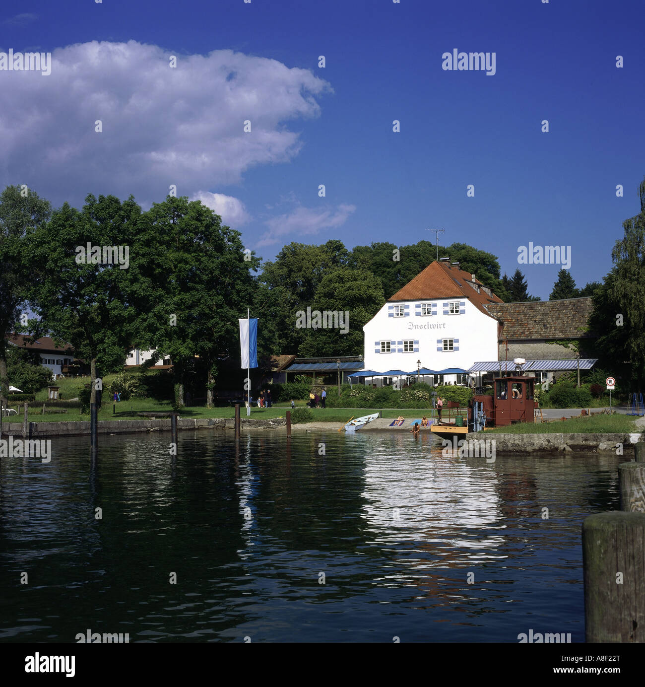 geography / travel, Germany, Bavaria, landscapes, Chiemsee, Frauenchiemsee, restaurant, Europe, landscape, Upper Stock Photo