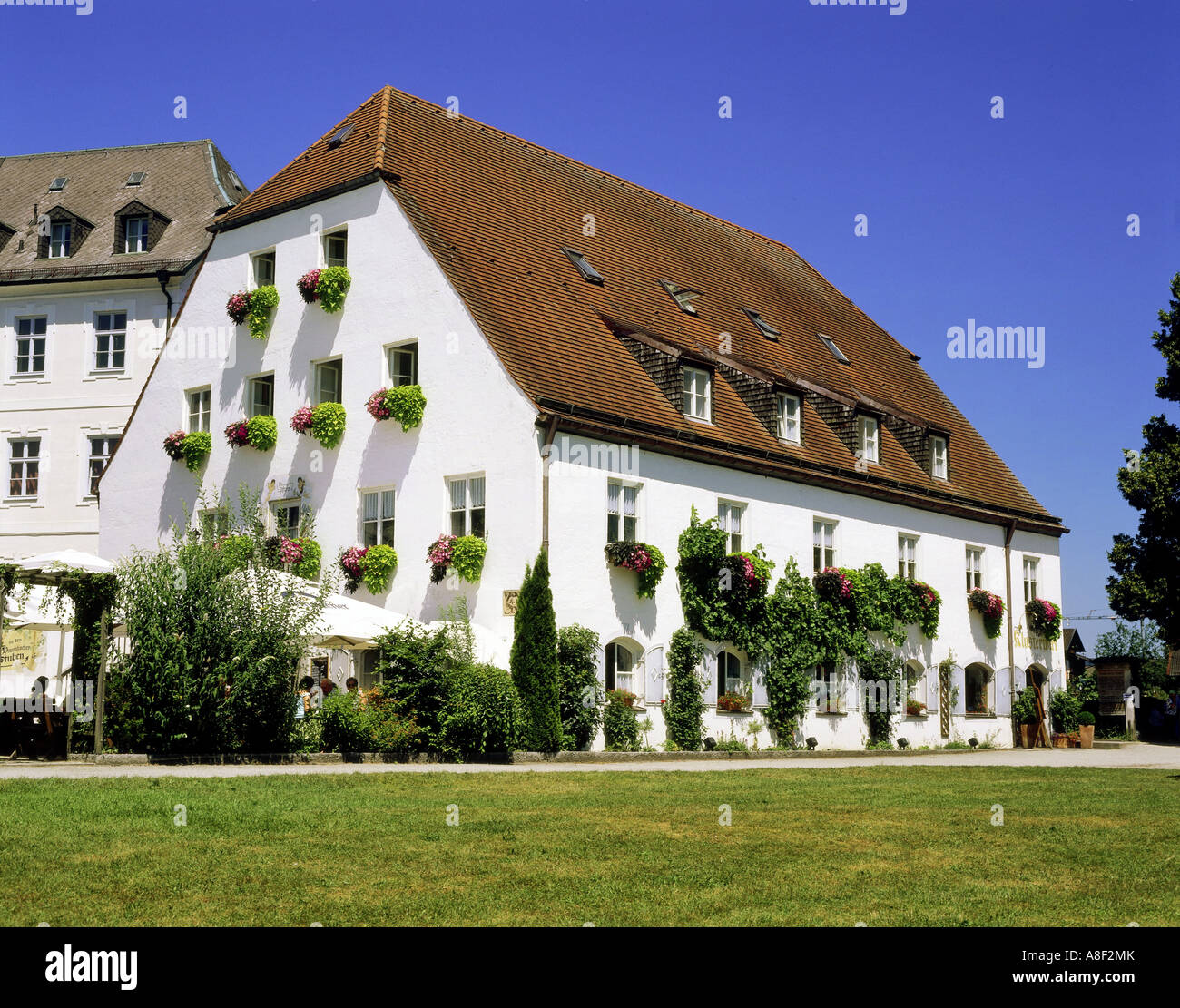 geography / travel, Germany, Bavaria,  Frauenchiemsee, gastronomy, restaurant Klosterwirt, exterior view, Additional Stock Photo