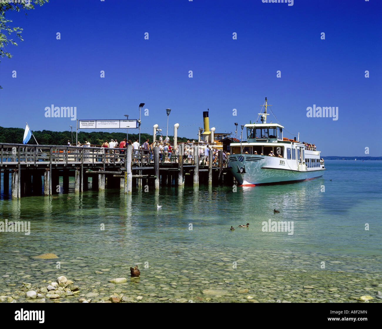 geography / travel, Germany, Bavaria, Herrenchiemsee, harbours, passenger ship 'Berta' at the landing stage - Stock Image