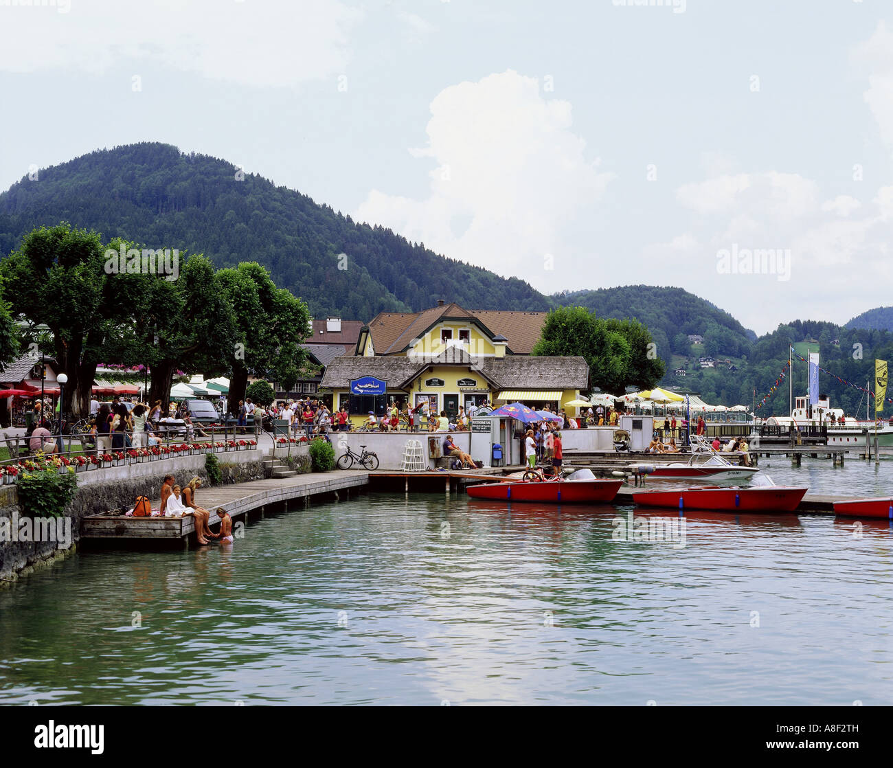 geography / travel, Austria, Salzburg, St. Gilgen, city view / cityscapes, water front, Wolfgangsee, Additional - Stock Image