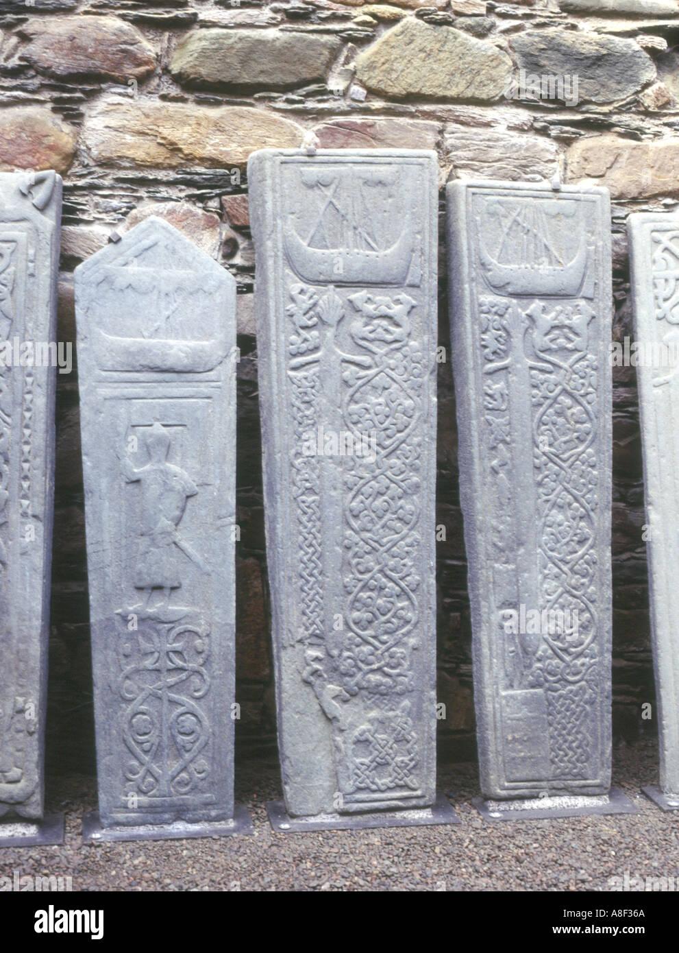 dh  KILMORY ARGYLL Sculptured gravestones carved stone grave slabs Stock Photo