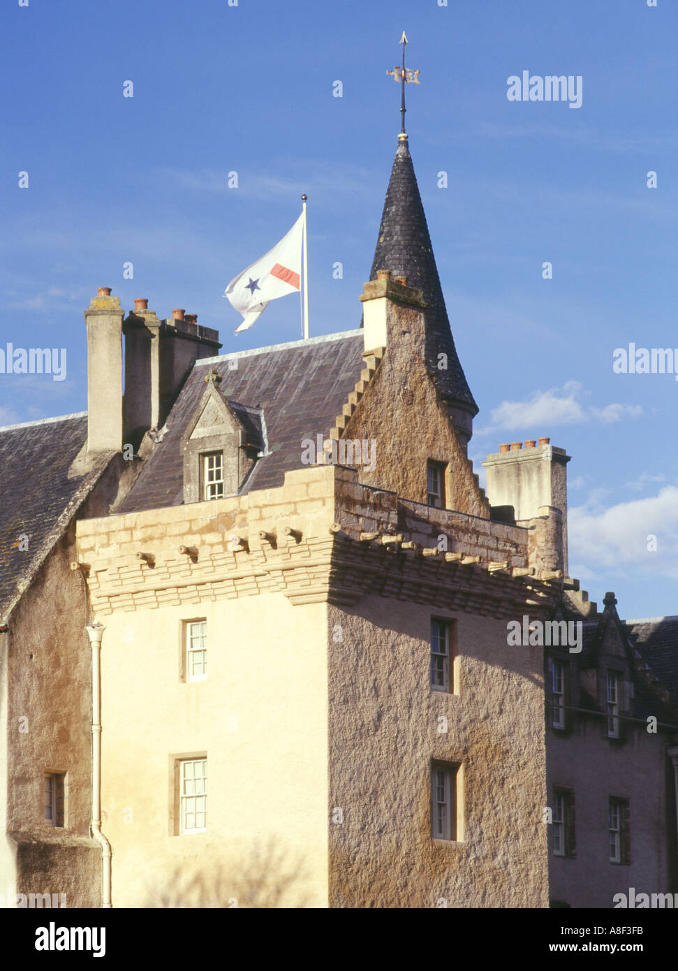 dh  BRODIE CASTLE MORAY Scottish Tower house castle with family clan  flag scotland highland Stock Photo