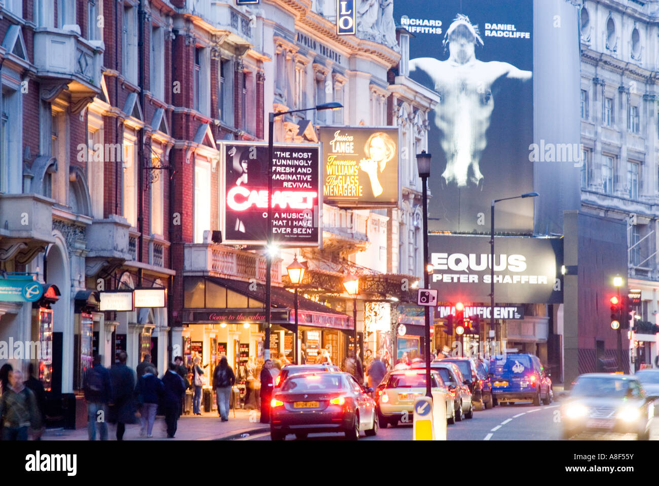 West End theatres on Shaftesbury Avenue at night London England UK - Stock Image