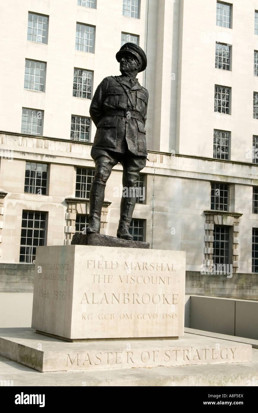 Statue of Field Marshall Alan Brooke on Whitehall London England UK - Stock Image