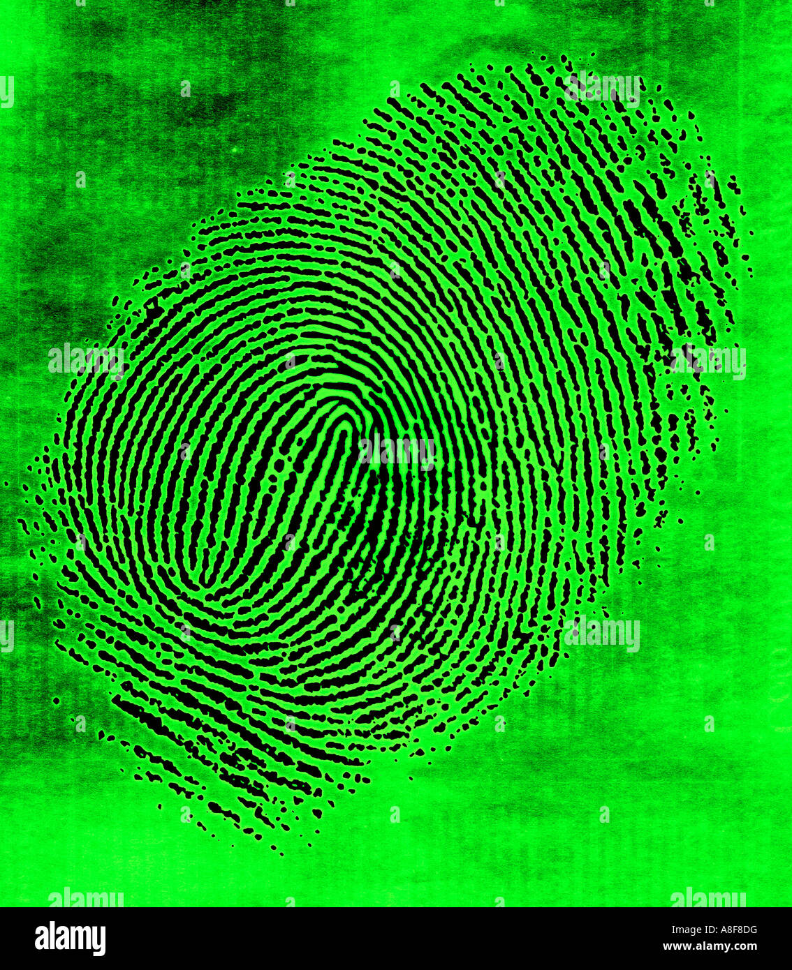closeup of smudged fingerprint viewed on closed circuit security camera - Stock Image