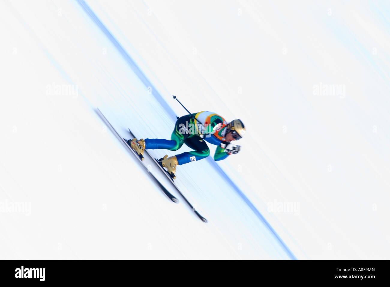 A Downhill Ski Racer - Stock Image