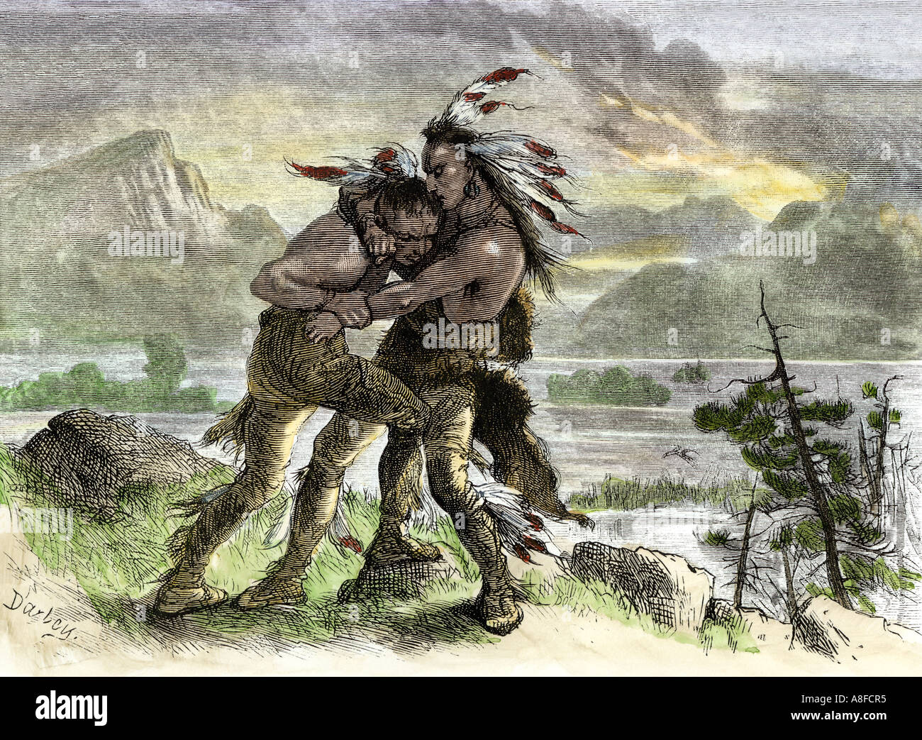 Hiawatha locked in combat with another Native American warrior. Hand-colored woodcut - Stock Image