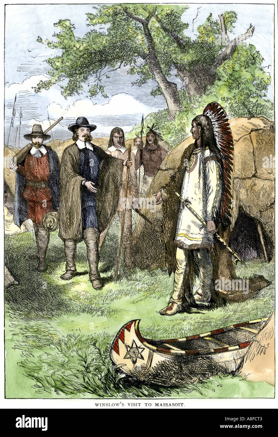 Wampanoag Indian Chief Massasoit visited by Governor Edward Winslow Plymouth Colony 1620s. Hand-colored woodcut - Stock Image