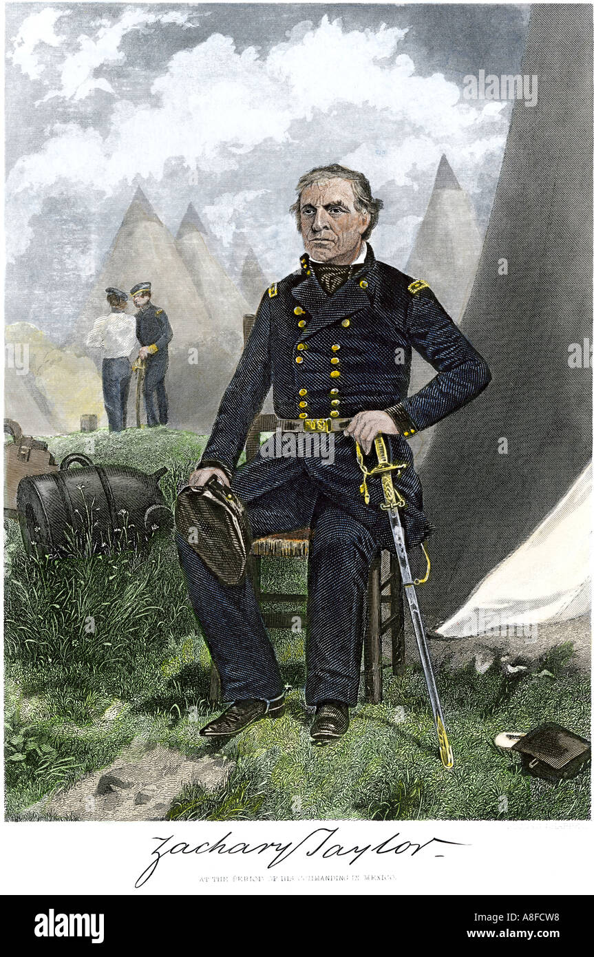 General Zachary Taylor in his field headquarters during the US Mexican War. Hand-colored steel engraving - Stock Image