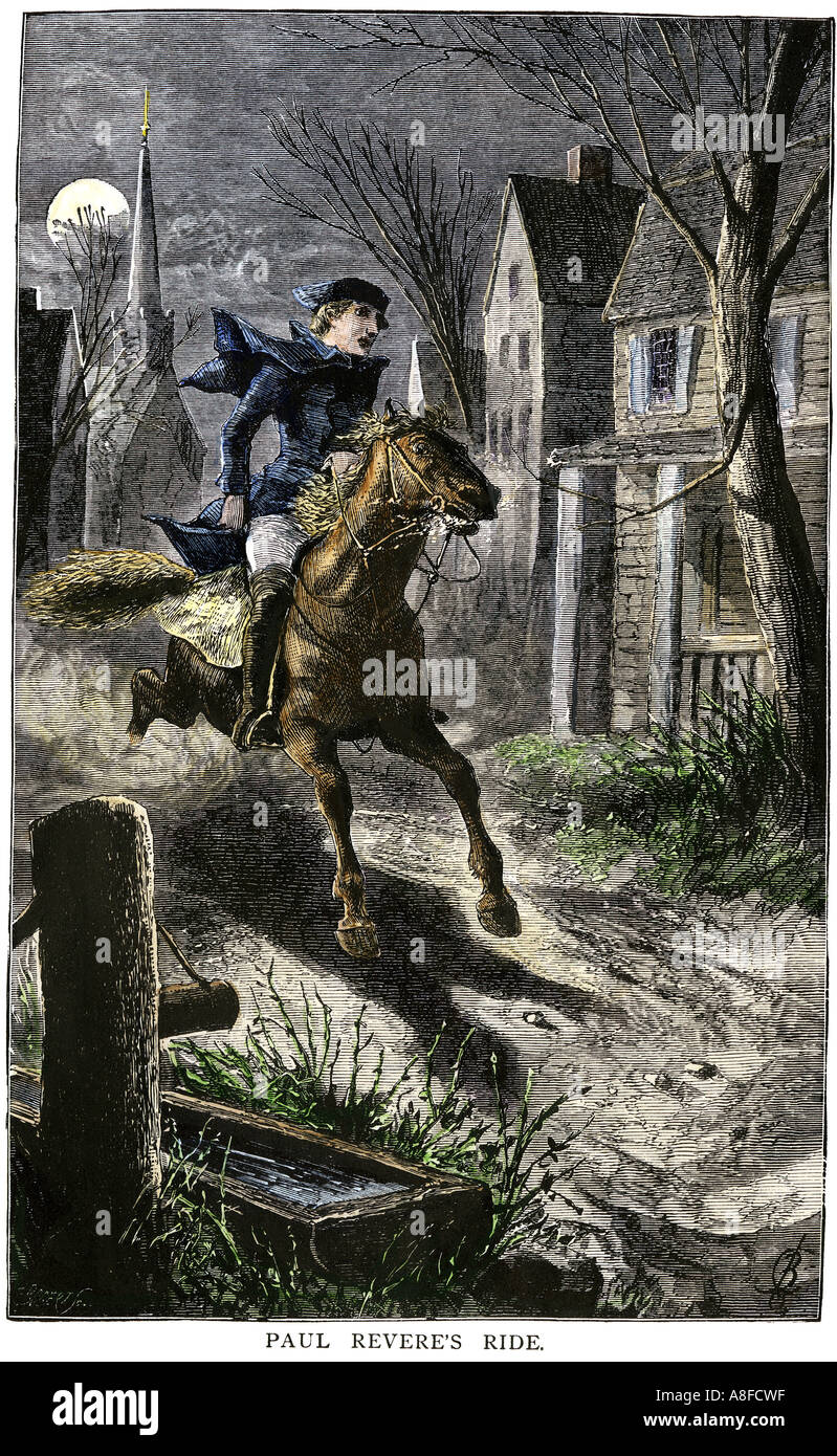 paul revere rides to warn the minutemen of the british advance