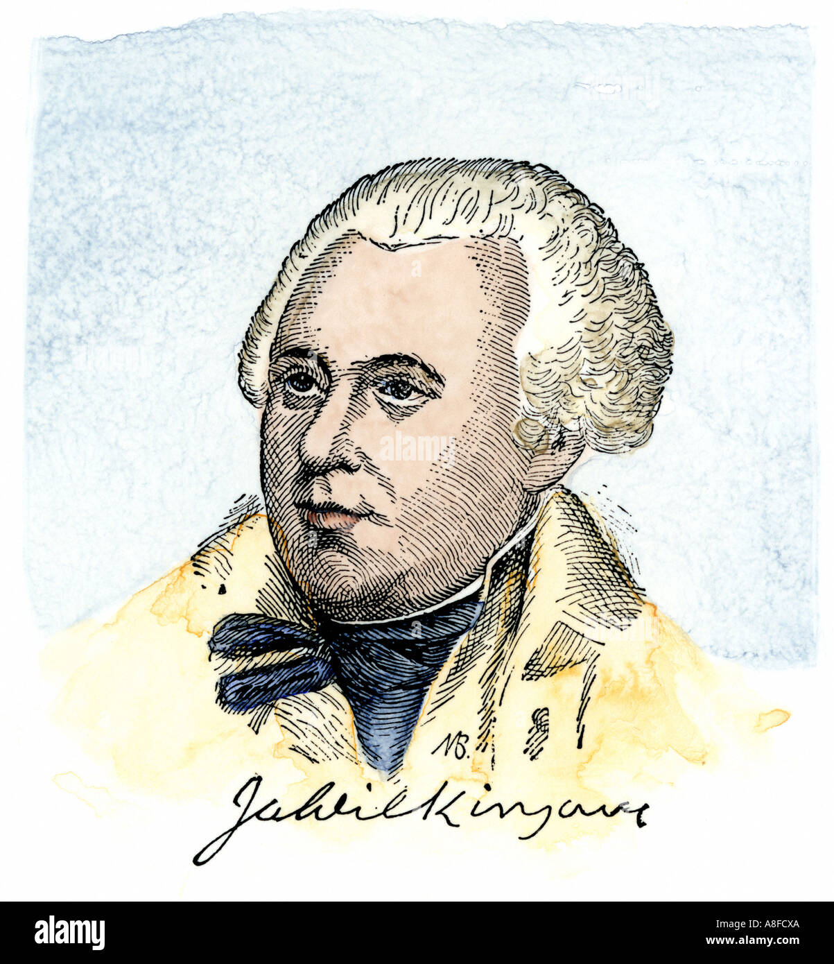 James Wilkinson with his signature. Hand-colored woodcut - Stock Image