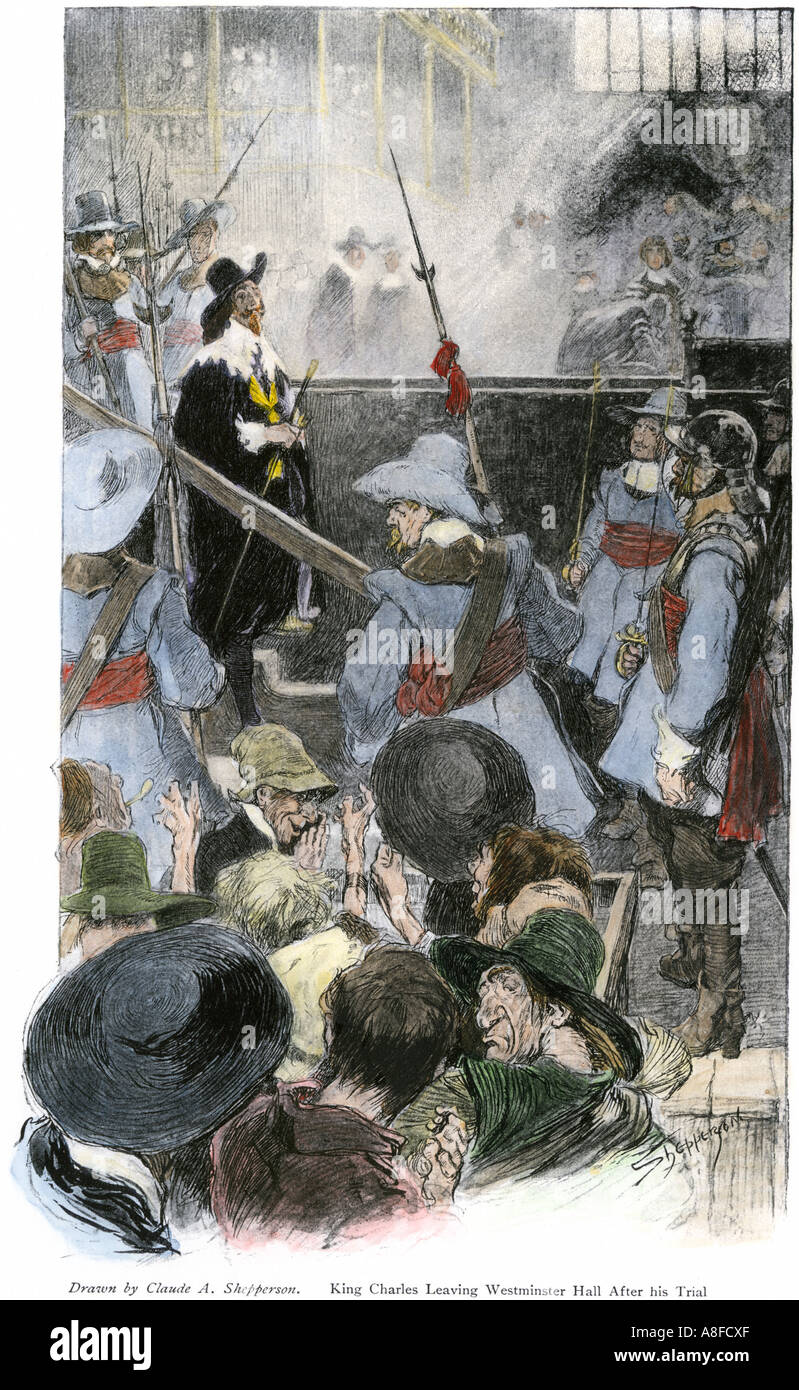 King Charles I leaving Westminster after his sentence to be executed as an enemy of the nation 1649. Hand-colored halftone of an illustration - Stock Image