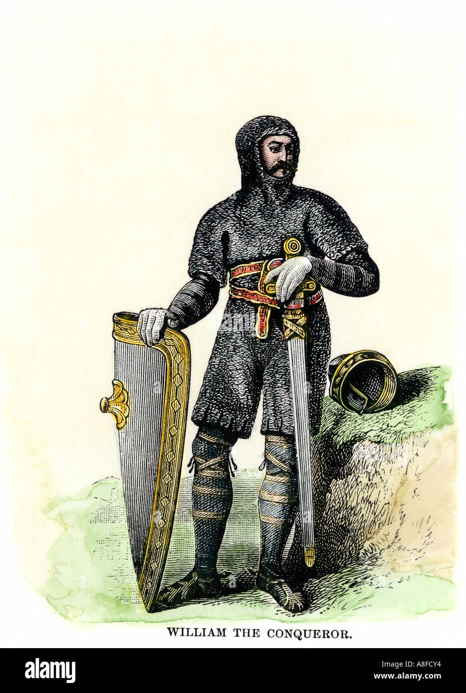 William the Conqueror in his suit of mail. Hand-colored woodcut - Stock Image