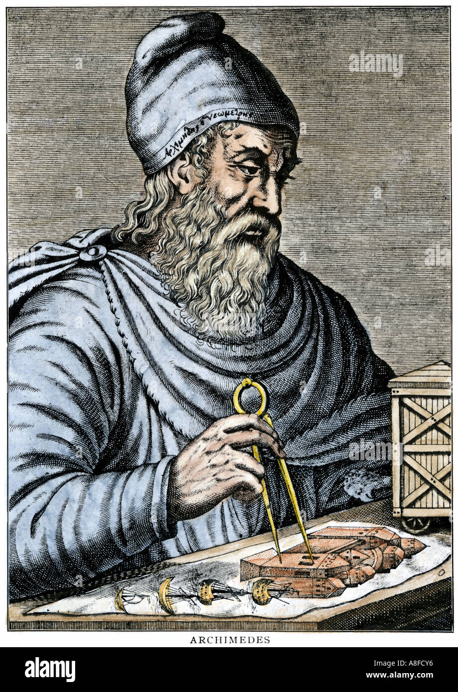 Archimedes using calipers in ancient greece stock photo for A archimede
