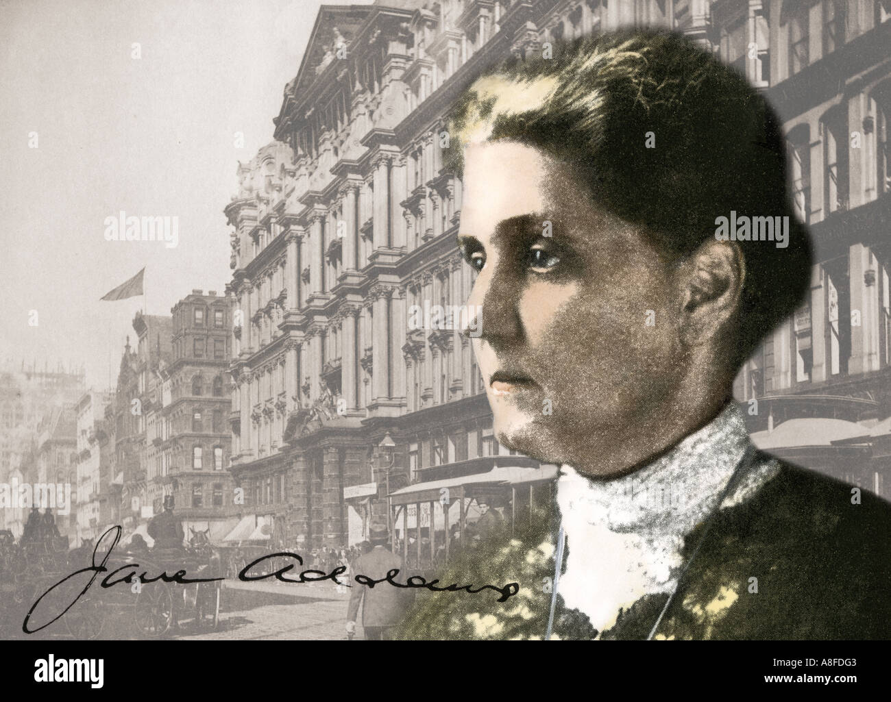 Social reformer Jane Addams against a background photo of downtown Chicago in the 1890s. Hand-colored halftone combined with an antique photograph - Stock Image
