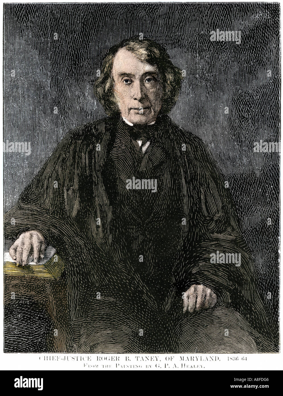 Roger B Taney Chief Justice of the US Supreme Court. Hand-colored woodcut - Stock Image