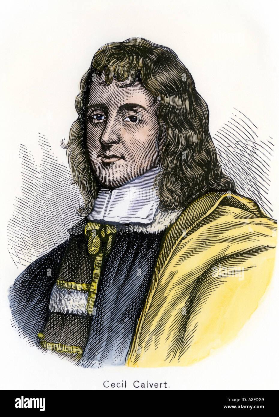 Cecil Calvert Second Baron Baltimore. Hand-colored woodcut - Stock Image