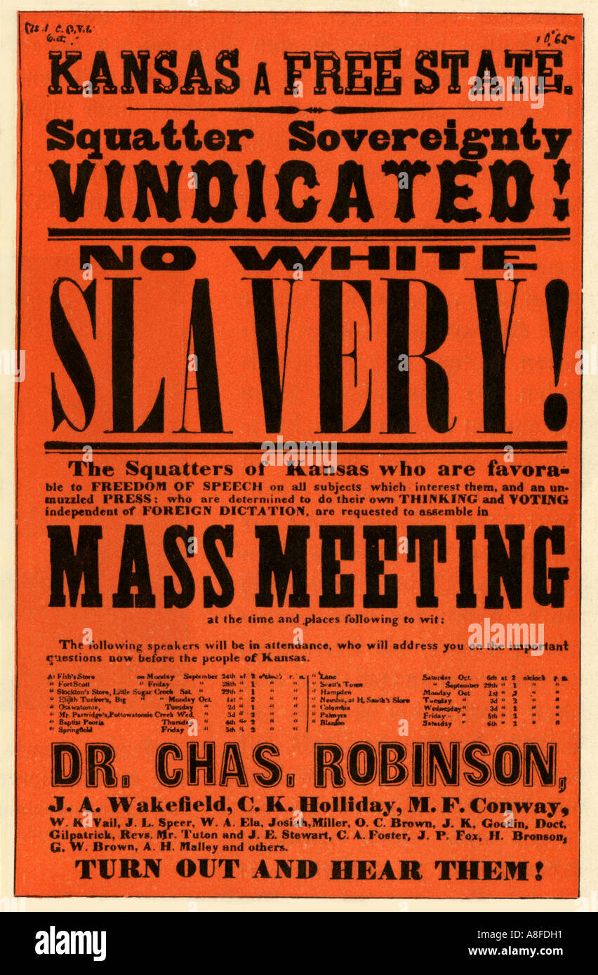 Poster to rally Kansas homesteaders behind pro slavery governor Charles Robinson during the Bleeding Kansas conflict - Stock Image