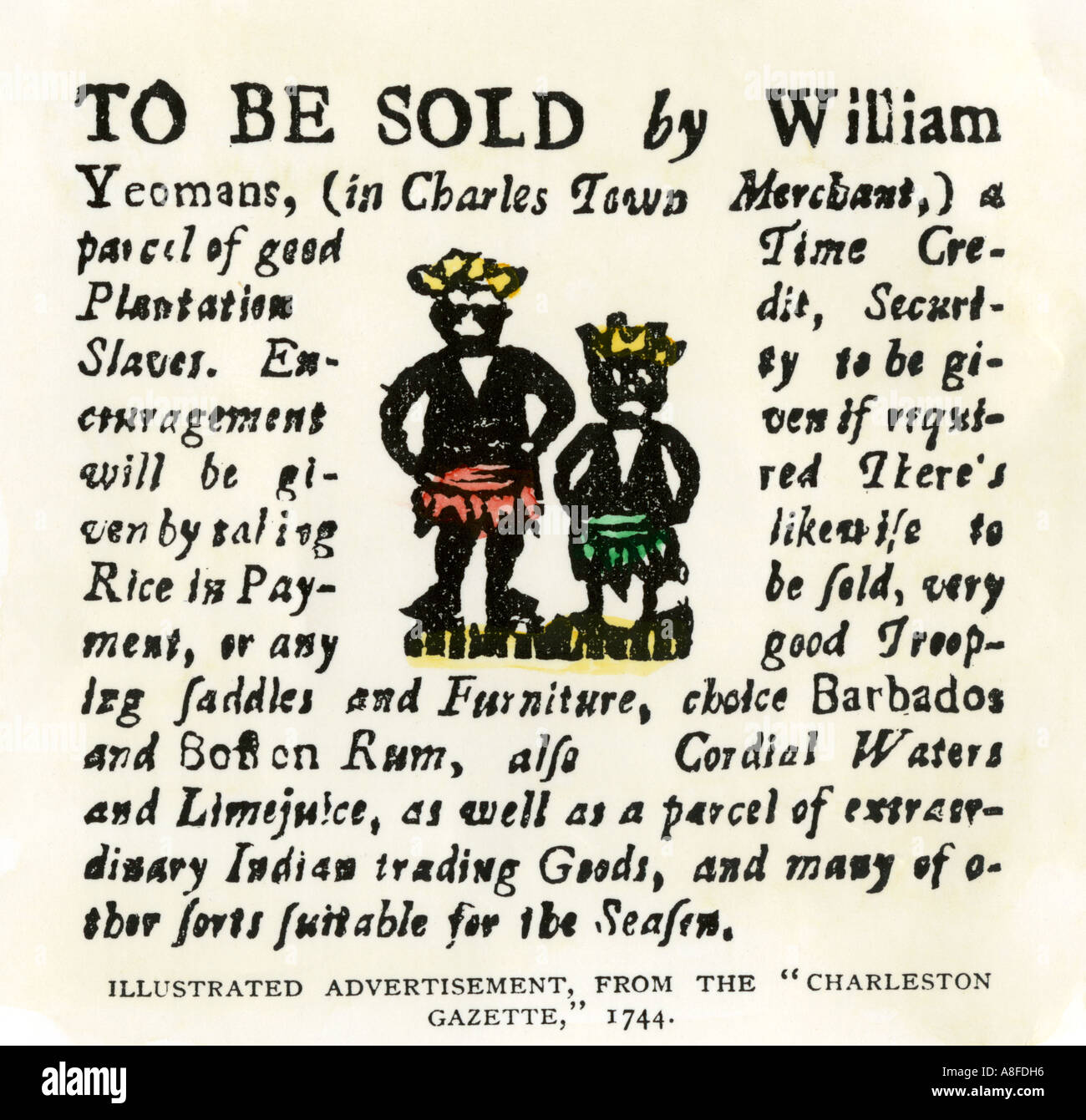 Sale of slaves Barbados rum and seafaring goods advertisement from the Charleston Gazette South Carolina 1744. Hand - Stock Image