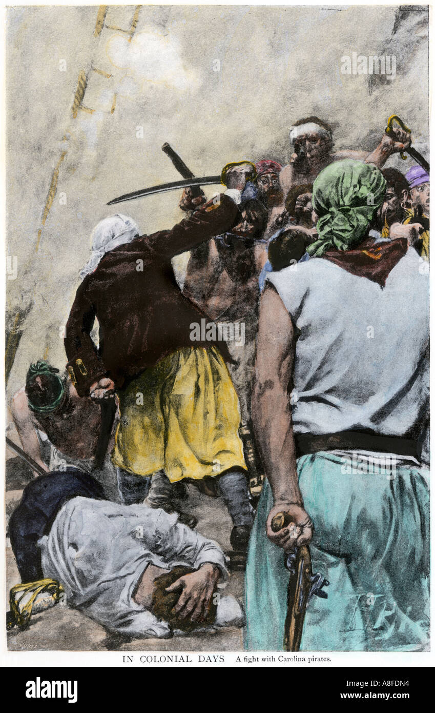 A fight with Carolina pirates in colonial days. Hand-colored halftone of an illustration - Stock Image