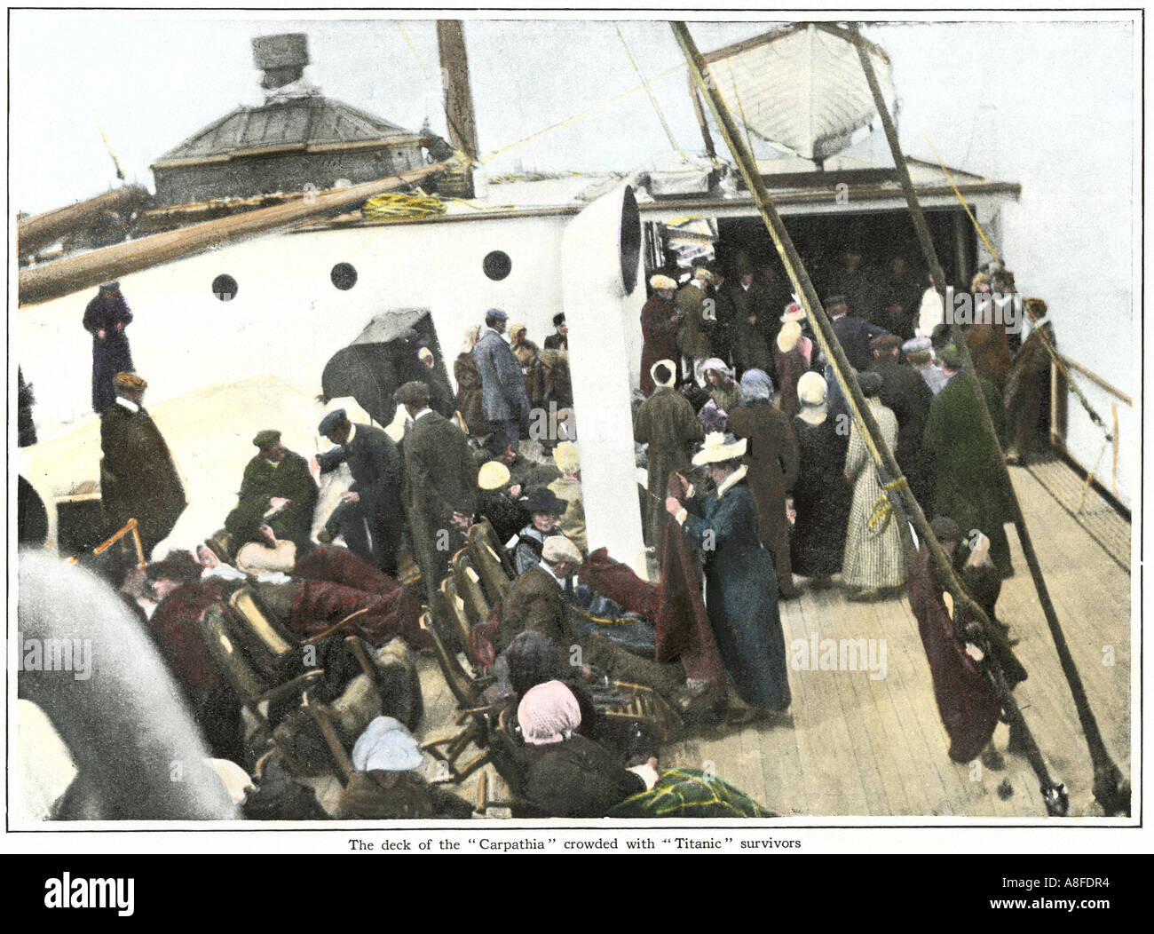 Titanic survivors on the deck of the steamer Carpathia 1912. Hand-colored halftone of a photograph - Stock Image