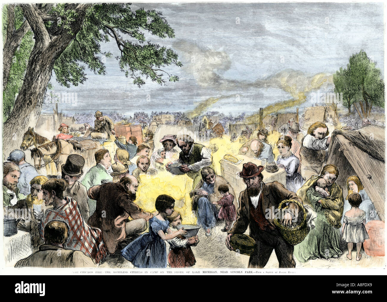 Camp for Chicago Fire victims on Lake Michigan shore near Lincoln Park 1871. Hand-colored woodcut - Stock Image