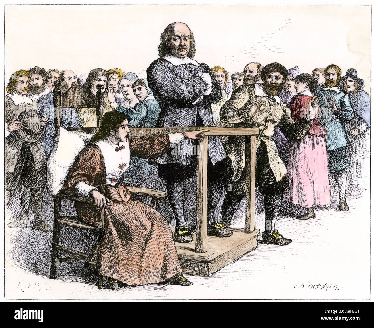 Witness testifying at the Salem witchcraft trials 1690s. Hand-colored woodcut - Stock Image
