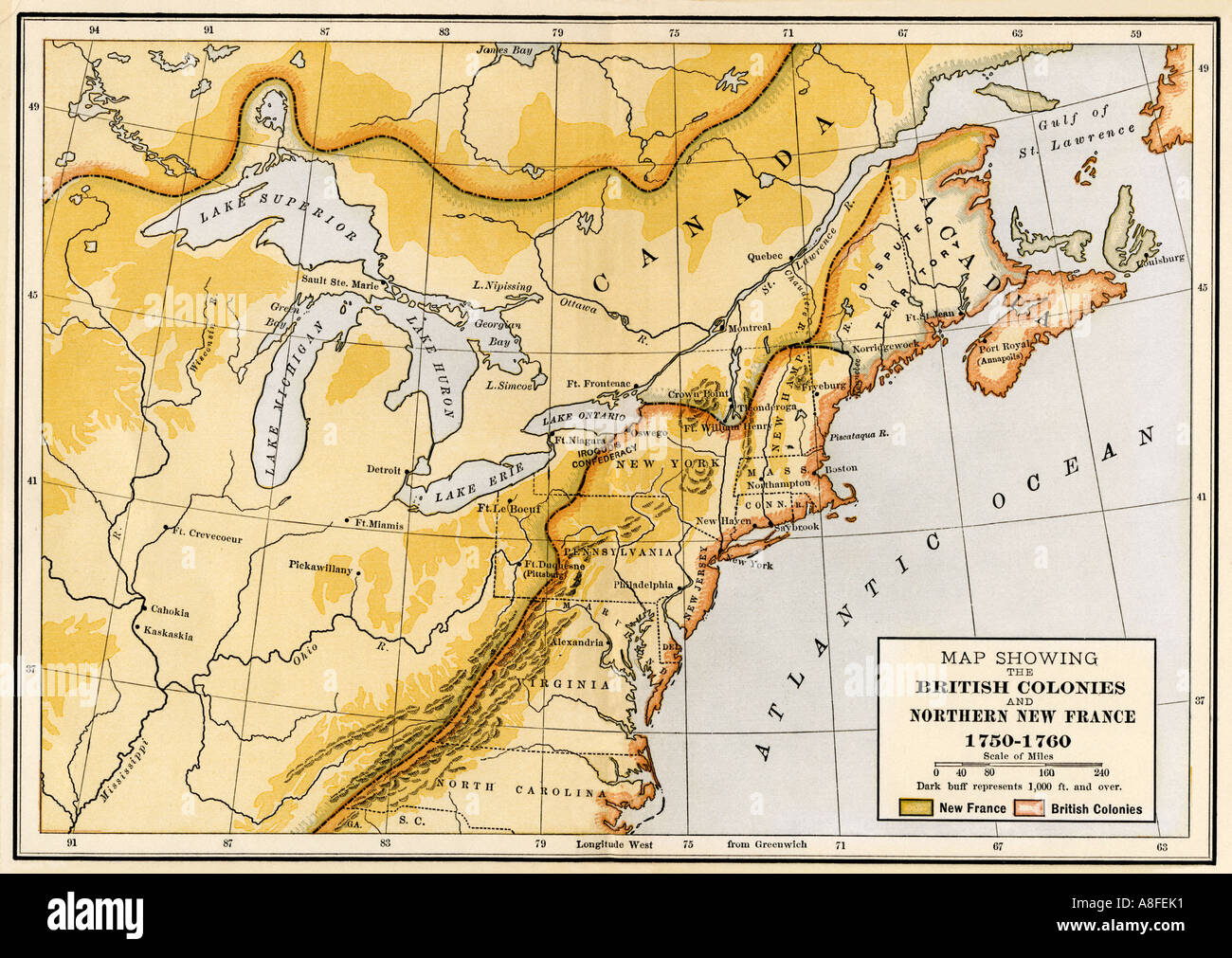map showing british and french north american colonies during the