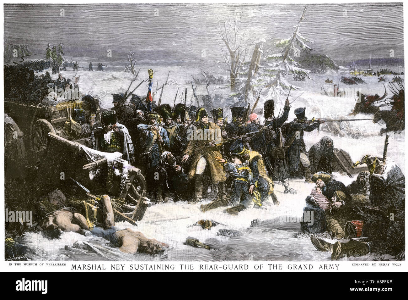 Marshal Ney bringing Napoleon's French rear guard out of Russia with heavy losses 1812. Hand-colored halftone - Stock Image