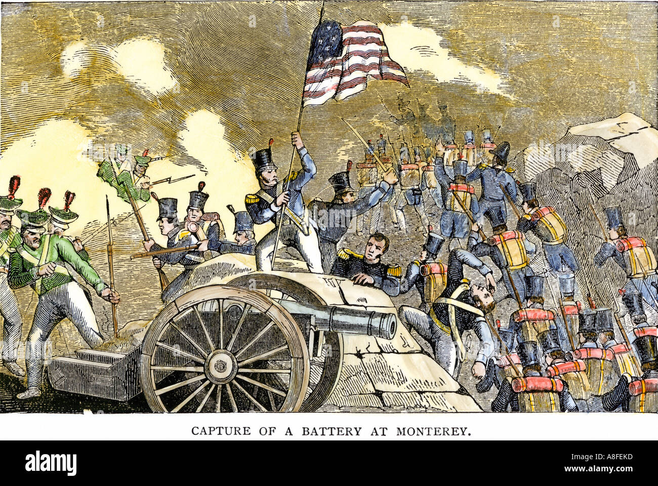 Mexican artillery captured by General Zachary Taylor at the Battle of Monterey in the US Mexican War 1846. Hand-colored woodcut - Stock Image