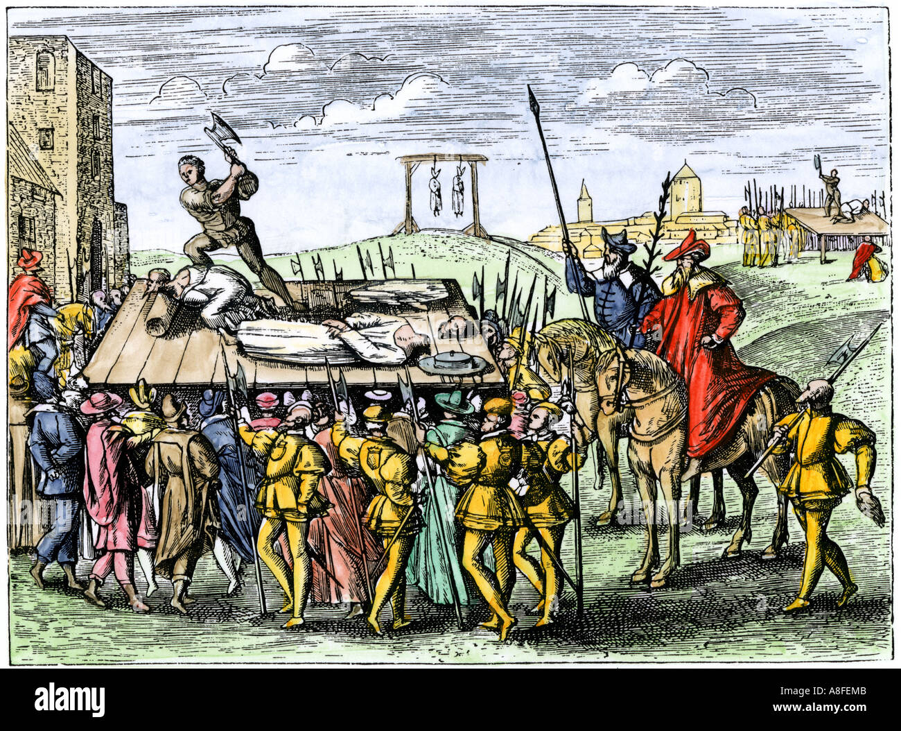 Roman Catholics beheaded by order of Henry VIII including Thomas More, John Fisher and the Countess of Salisbury 1535. Hand-colored woodcut - Stock Image