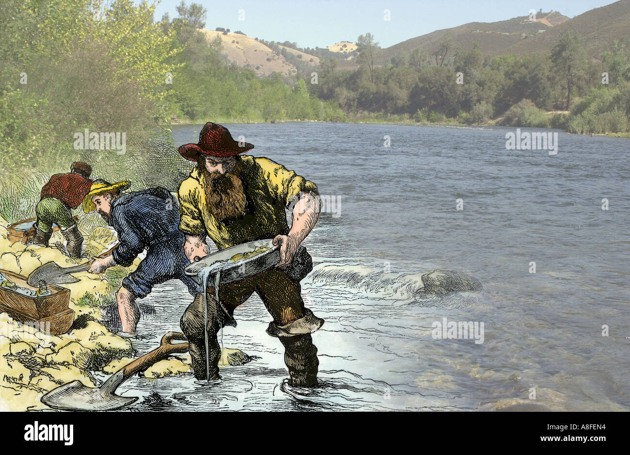 Prospector panning for gold near Sutters Mill in the American River in Coloma California. Hand-colored woodcut with a photo of the American River - Stock Image