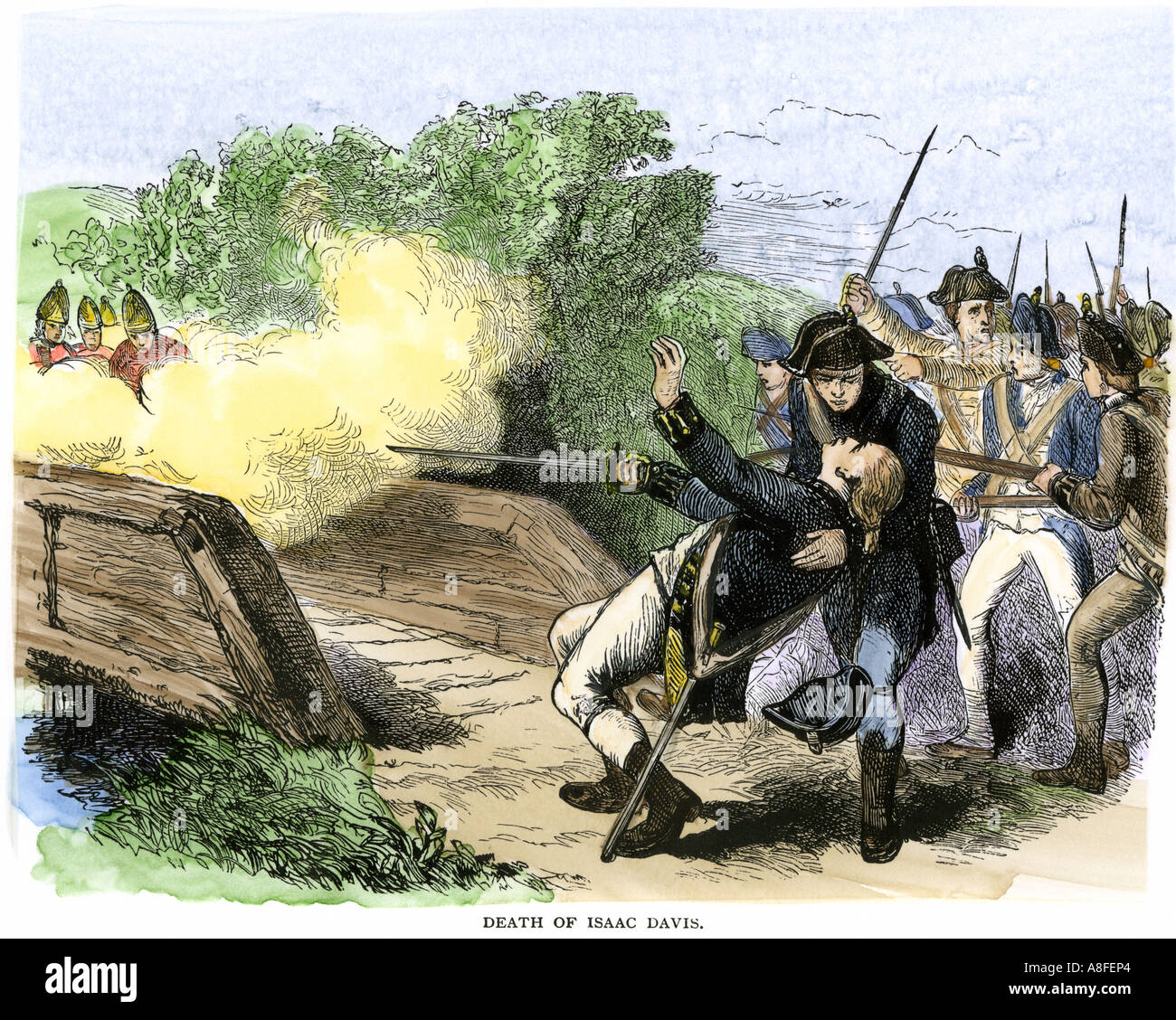 Minuteman Isaac Davis killed holding British redcoats at the north bridge during the Battle of Concord 1775. Hand-colored woodcut - Stock Image
