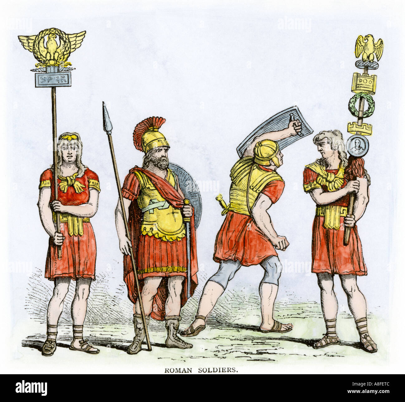 Roman soldiers carrying insignia of the army of ancient Rome. Hand-colored woodcut - Stock Image