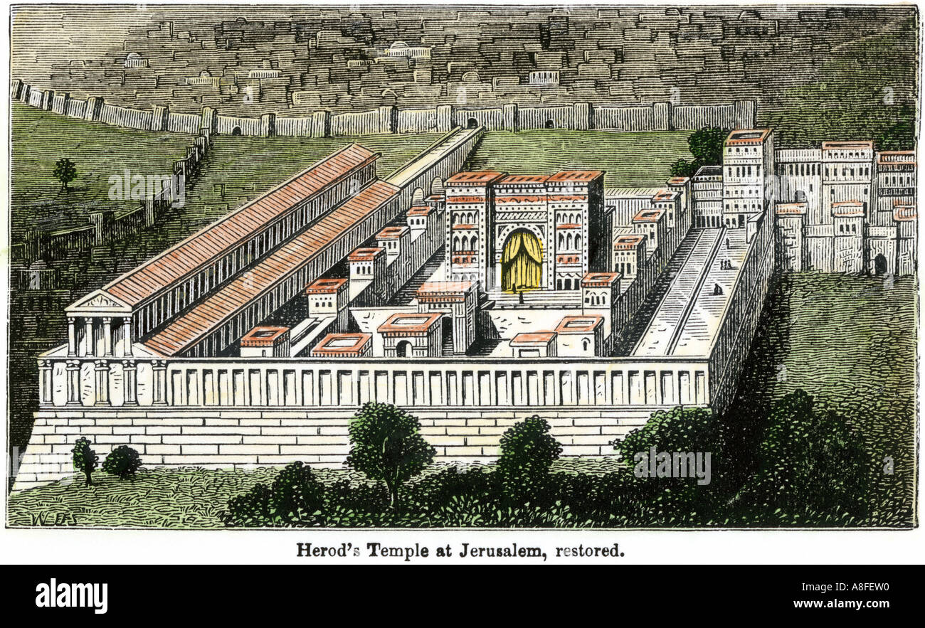 Temple under Herod when Jerusalem was within the Roman Empire. Hand-colored woodcut - Stock Image